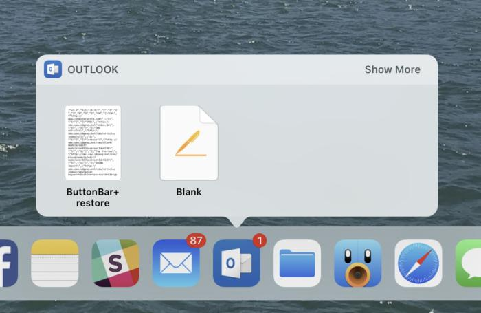 Dock and documents in iOS 11