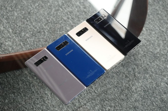 The Note 8 in Orchid Gray, Deep Sea Blue, Gold, and Midnight Black