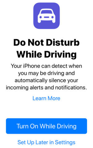 do not disturb while driving