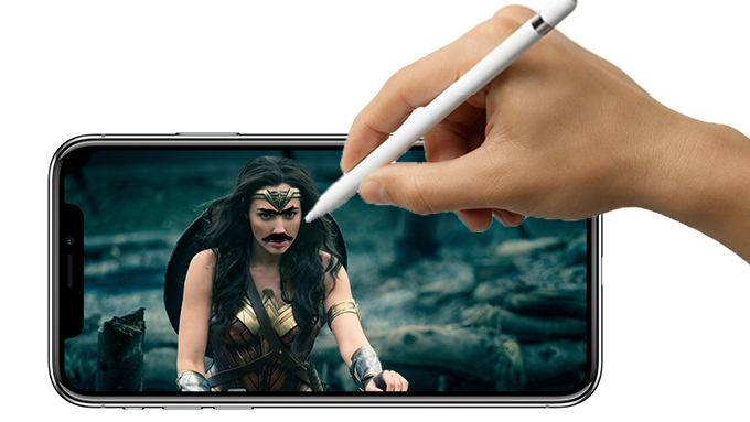 An artist's interpretation of the Apple Pencil being used on the iPhone X
