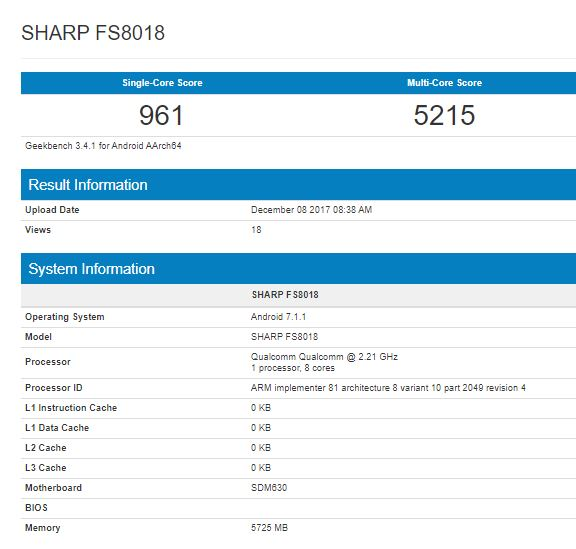 Sharp FS8018 Geekbench