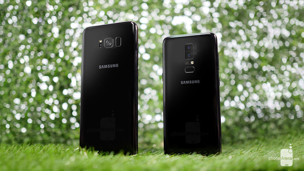 A Samsung Galaxy S8 next to what the Galaxy S9 might look like