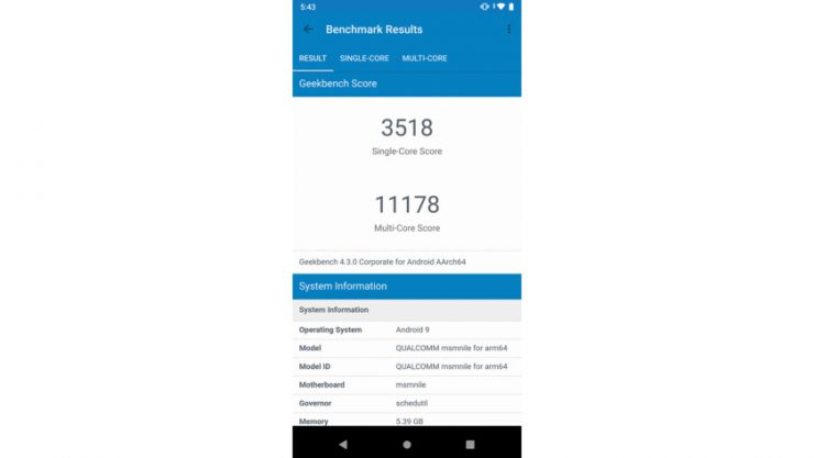 Geekbench multicore results for the Qualcomm Snapdragon 855