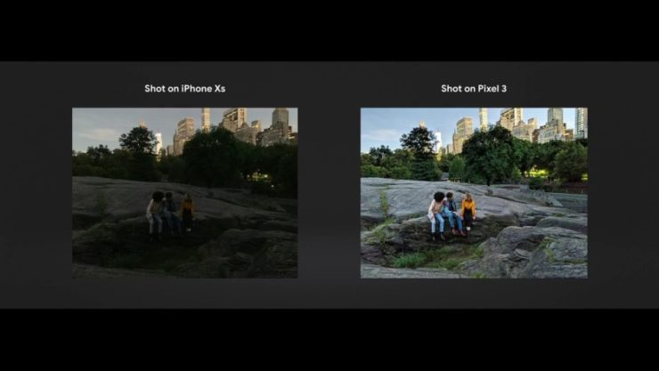 A comparison between the iPhone XS and Google's Night Sight.