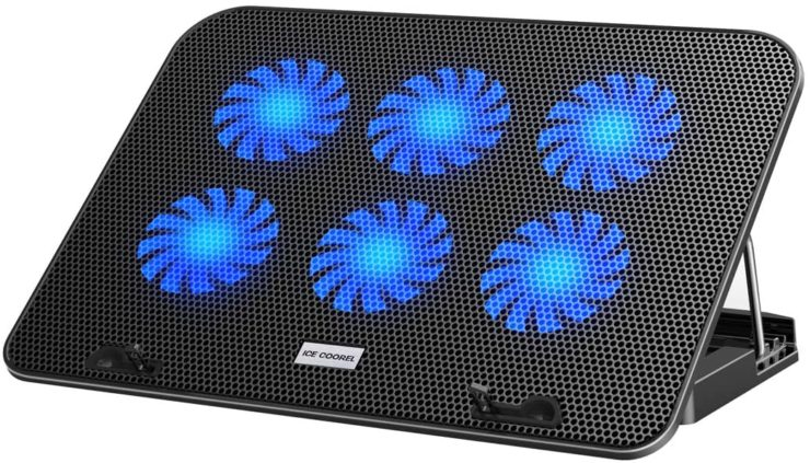 Amazon.com: ICE COOREL Laptop Cooling Pad for 15.6 14 13 Inch, Laptop Cooler with 6 Quiet Cooling Fans and 5 Stand Height Adjustable, Notebook Cooling Pad Dual USB 2.0 Ports and Adjustable