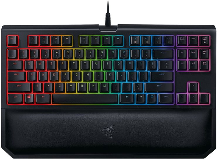Amazon.com: Razer BlackWidow TE Chroma v2 TKL Tenkeyless Mechanical Gaming Keyboard: Green Key Switches, Tactile & Clicky, Chroma RGB Lighting, Magnetic Wrist Rest, Programmable Macros, Classic Black: Computers & Accessories