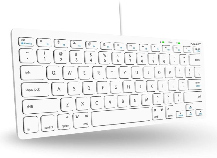 Amazon.com: Macally USB Wired Keyboard for Mac and Windows PC - Plug and Play Apple Keyboard with 78 Scissor Switch Keys and 13 Shortcut Keys - Compact & Small Keyboard that Saves
