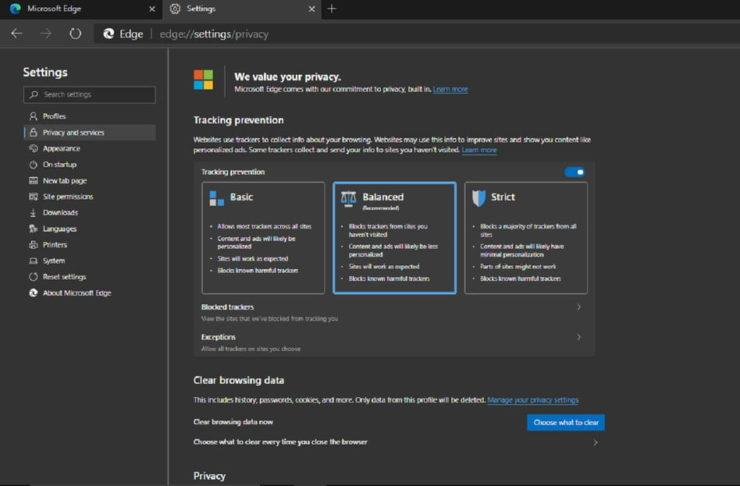 new microsoft edge privacy settings screenshot