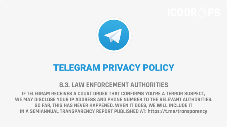 """ICO Drops on Twitter: """"Telegram has changed its Privacy Policy and is now not as anonymous as before. Your IP and phone number may be disclosed If Telegram receives a court order."""