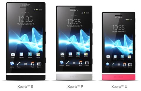 Sony Xperia P, Sony Xperia U, Sony Xperia S