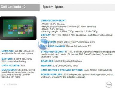 Спецификация Dell Latitude 10