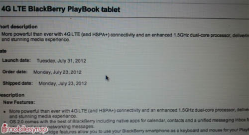 BlackBerry PlayBook LTE