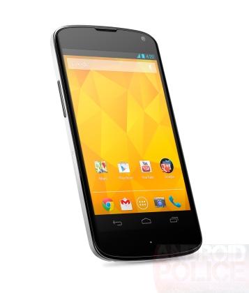 Пресс-фото LG Nexus 4 в белом цвете