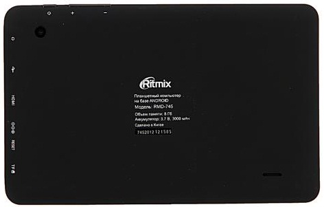 Планшет Ritmix RMD-745: тыльная сторона