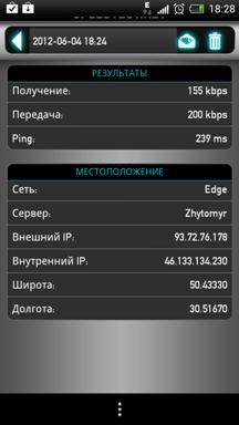 Приложение для измерения скорости Интернета: скриншот 4