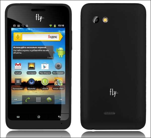 Вид смартфона Fly IQ240 Whizz: фронтальная и тыльная сторона